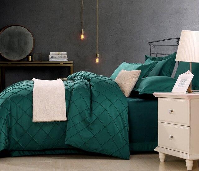 Superior Dark Green /gray/beige/purple Luxury Washed Silk 4pcs Bedding Set Cotton  Satin