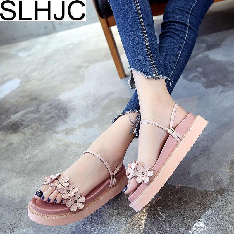 SLHJC Platform Sandals Women Summer Casual Sweet Flower Pearl Sandals Slippers With 3 cm Platform Elevator Shoes
