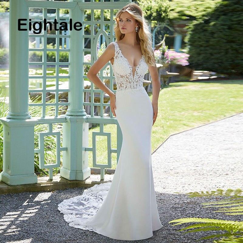 Eightale Mermaid Wedding Dress 2019 V Neck Backless