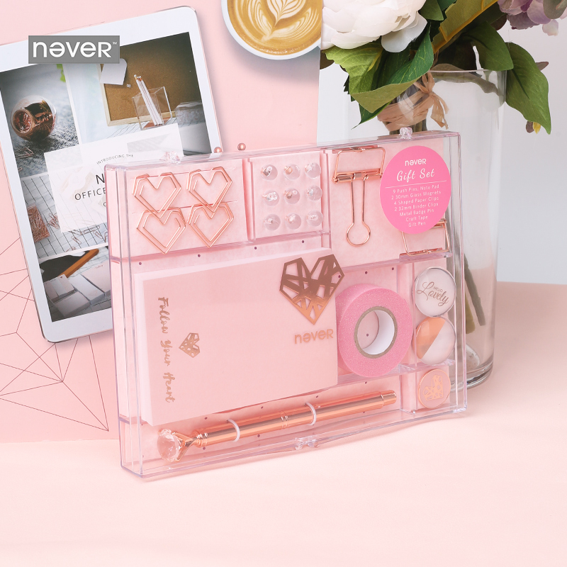 Image 2 - Never Rose Gold Series Stationary Set Metal Pen Memo Pad Push Pins Washi Tape Paper Clips School Office Supplies Gift Stationary-in Stationery Set from Office & School Supplies
