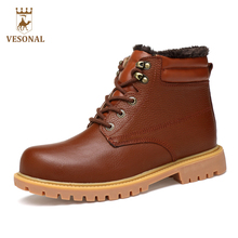 VESONAL Genuine Leather Winter Warm Fur Snow Boots Men Shoes Casual Male Designer Non Slip Quality Ankle Boot Man Big Size 38-48