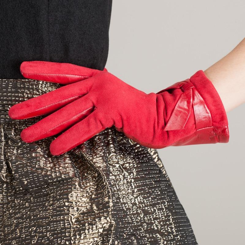 Kursheuel mode femmes arc gants en cuir importé chèvre daim gants en cuir gants en cuir femme hiver femmes gants - 4