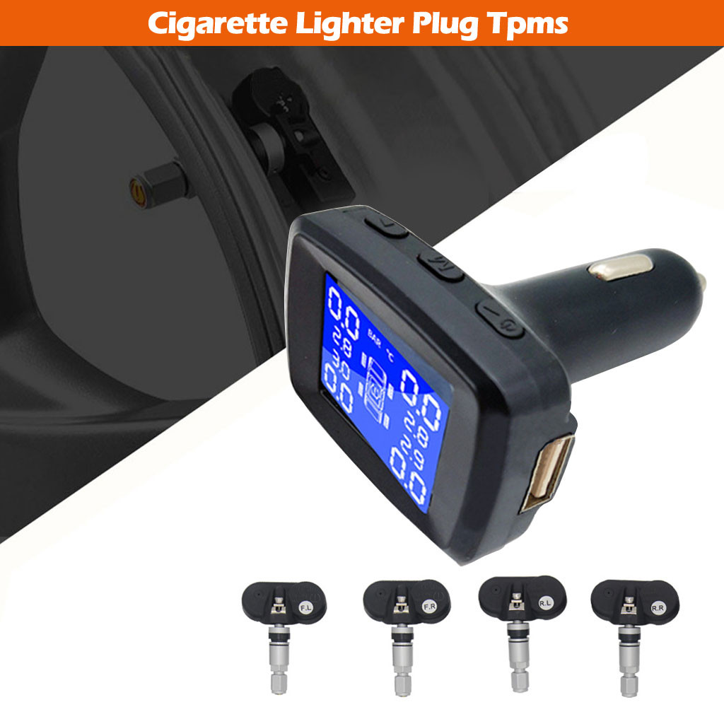 Car Tire Pressure Monitoring System Cigarette Lighter Plug TPMS LCD Display Waterproof 4 External Sensors USB Charging(China)