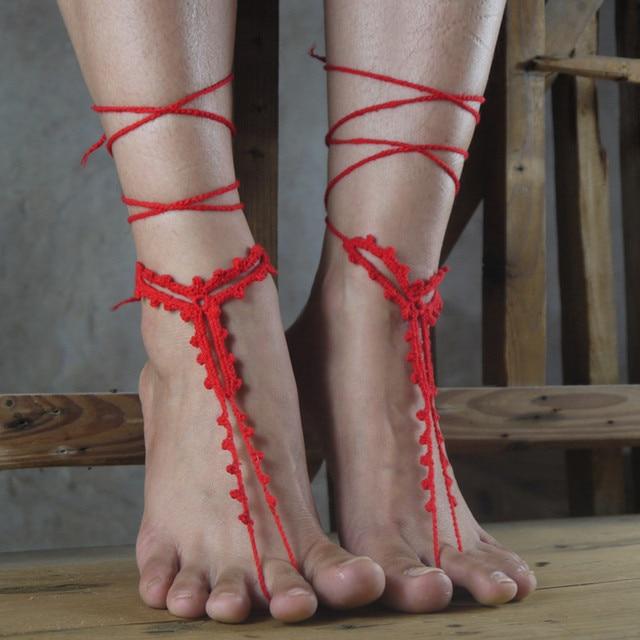 Crochet Las Sandalias Descalzas, zapatos desnudos, joyería de pie ...
