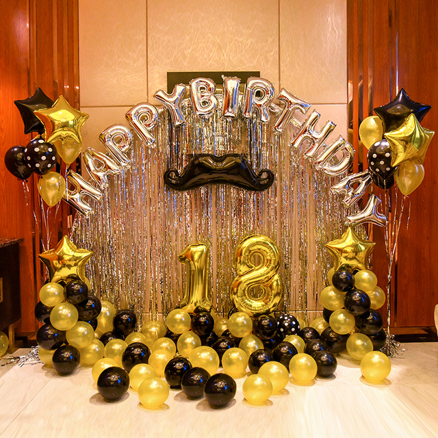 Happy Birthday Decoration Set Adult Gold Black Latex Globe Silver Letter Aluminum Foil Balloon Star Kids Supplies
