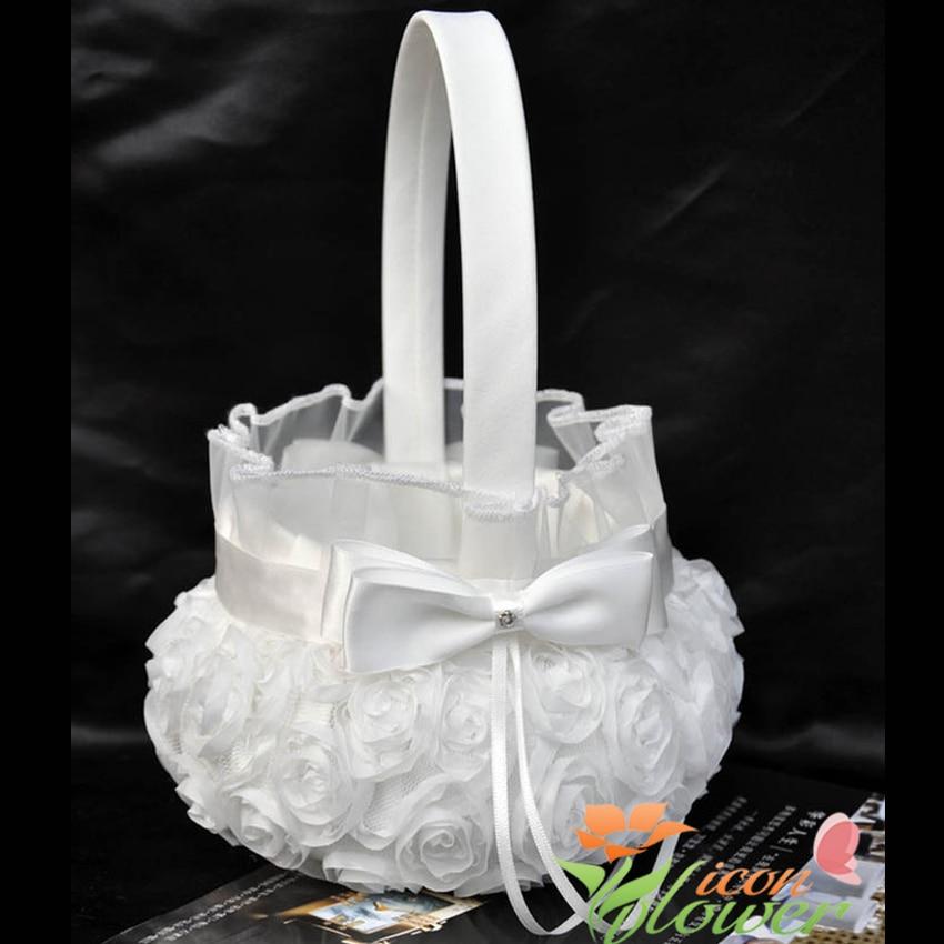 4Pcs/lot White Rose Flower Decoration Wedding Guest Book& Pen Set &Ring Pillow &Girls Flower Basket Decor Bridal Products
