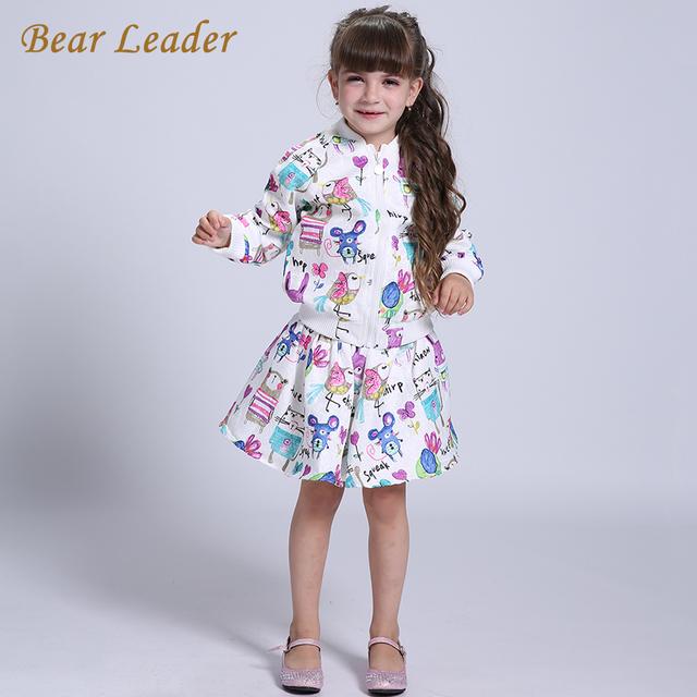 Líder urso Conjuntos de Roupas Meninas 2016 Roupas de Marca Meninas Dos Desenhos Animados Manga Longa Meninas Outerwear + Grils Saias 2 pcs para Roupa dos miúdos