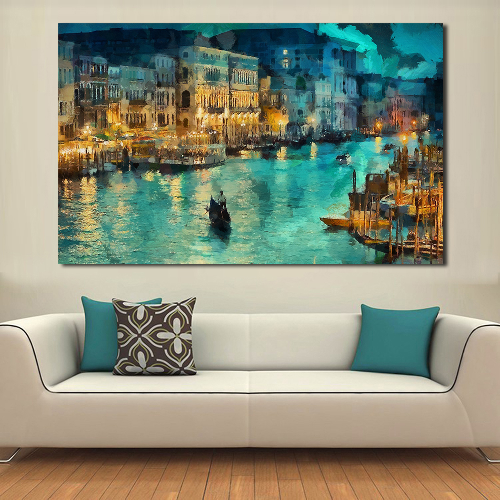 JQHYART A Small Town At Night Moat Building Ship Painting Canvas Wall Art Picture On Prints Poster Home Decor Canvas No Frame
