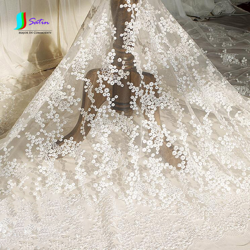 Diy Wedding Gowns: Round Pattern Encryption Embroidery Ivory White DIY