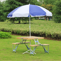 Easy Taking Portable Aluminium Alloy Fold Picnic Desk With Four Seats Hot Sale Occasional Table Beach