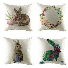 4 Psc fundas de almohada Vintage Festival Pascua sofá cama decoración del hogar conejo funda de almohada cremallera oculta cierre funda de cojín 10Mar1