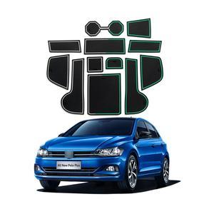 Image 1 - RUIYA esteras con surcos para puerta de coche, almohadillas antideslizantes para puerta de coche, accesorios de Interior de coche, 12 Uds., rojo/blanco, para Polo MK6 2018 2019