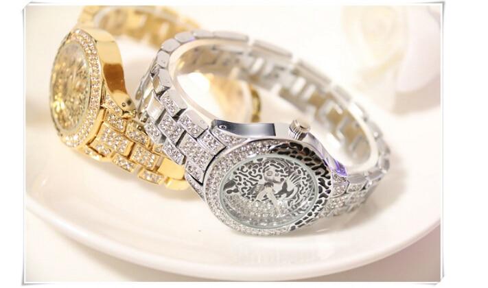Latest New Women Watches Lady Diamond Stone Dress Watch Steel Leopard Rhinestone Bracelet Wristwatch Female Tiger Crystal Watch 4