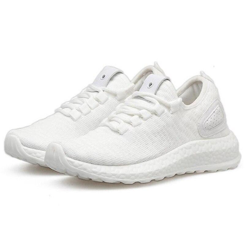 2018 высокие модные кроссовки Для женщин дышащему трикотажному верху обувь на платформе tenis feminino повседневная женская обувь 3,5 см каблук ...