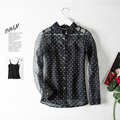 Women silk blouse REAL silk blouse Dots print Long sleeved Organza Transparent button shirt  Spring 2016