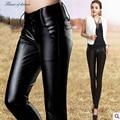 Pantalones y capris 2016 de Talla grande Negro Sexy de Cuero de La Pu Mujeres Coreanas Pantalones Pies Ocio Pantalones Lápiz Mujeres pantalones 194