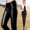 Pants & capris 2016  Black Plus Size Sexy Leather Pu Pants Women Korean  Foot Leisure Pencil Pants Women trousers 194