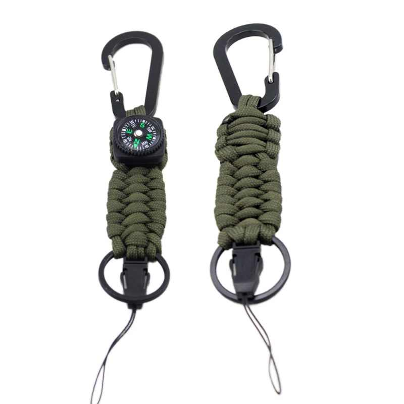 NEW BLACK 550 PARACORD KEYCHAIN WITH CARABINER