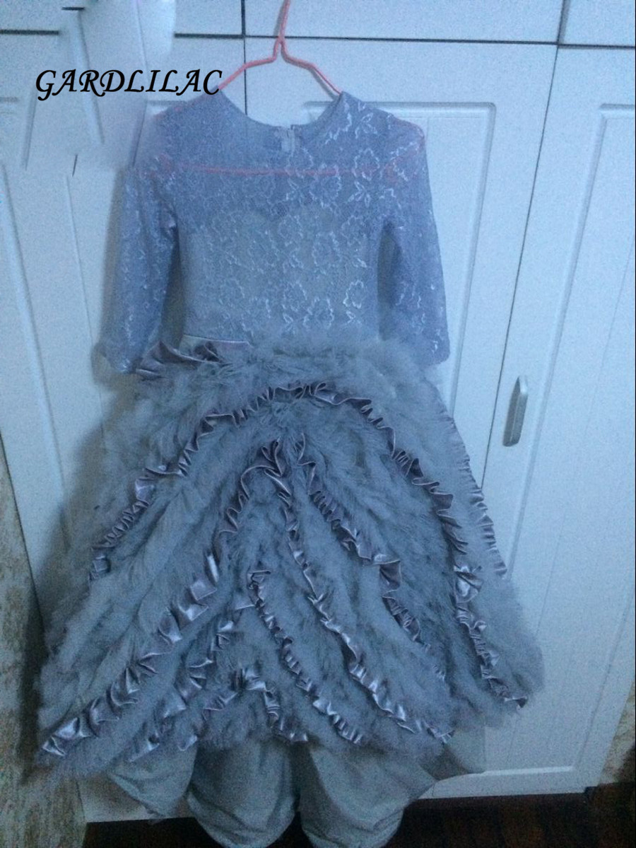 2018 Romantic Gray Puffy Lace   Flower     Girl     Dress   for Weddings Lace   Girls   Party Communion   Dress   Pageant Gown