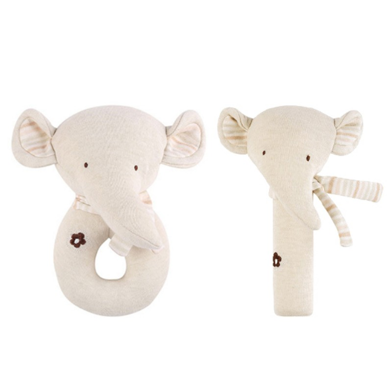 2 PCS Baby Rattle Cartoon Cute Set Baby Comfort Toy Cotton Plush Rattle Set Trolley Accessories Baby Gift