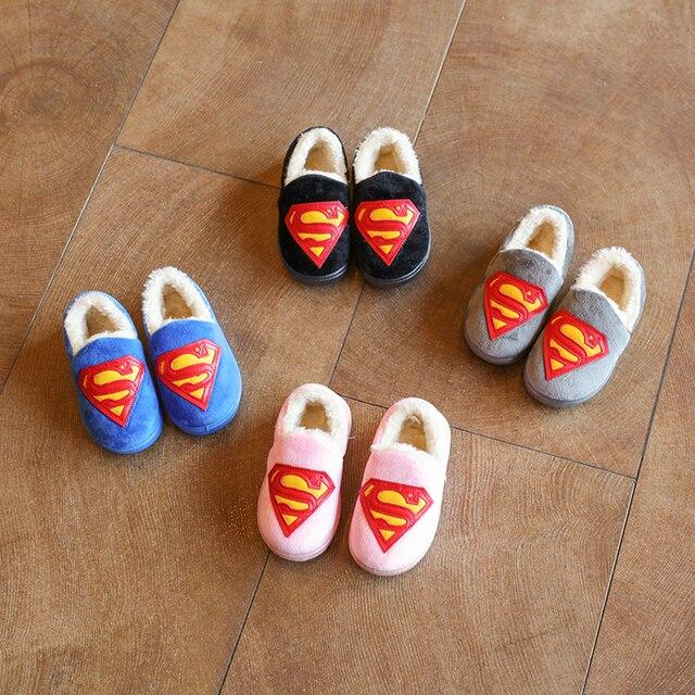 Мультфильм тепловой хлопка мягкой обуви ребенок супер человек зима главная крытый мягкие скольжению подошва обувь мальчиков и девушки повседневная обувь