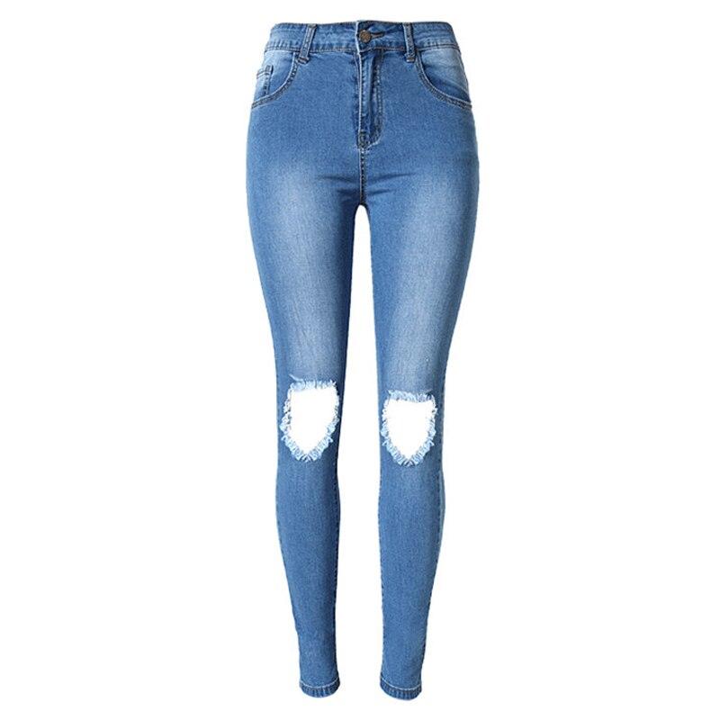 2016 High Waist Jeans Plus Size Women Hole Jean Personality Denim Pants Boyfriend Jeans Long Blue Femme Trous Jeans Skinny S1539 fashion women high waist blue jeans denim pants boyfriend jean femme jeans trousers plus size s 2xl