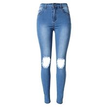 2016 Высокая Талия Джинсы Плюс Размер Женщин Отверстия Жан Личность джинсовые Брюки Бойфренд Джинсы Длинные Голубые Femme Trous Дёинсы Тощий S1539