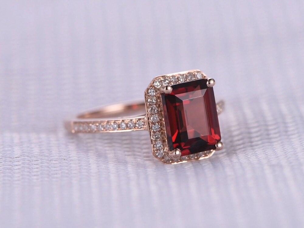 Myray 6x8 мм изумруд натуральный красный гранат Драгоценное кольцо Винтаж антикварной партии кольцо Обручение Свадебные Для женщин Для мужчин