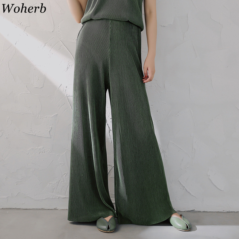 Woherb Elegant   Wide     Leg     Pants   Women Summer Casual Thin Chiffon Trousers 2019 Korean Loose Stretch High Waist   Pant   Pantalon Femme