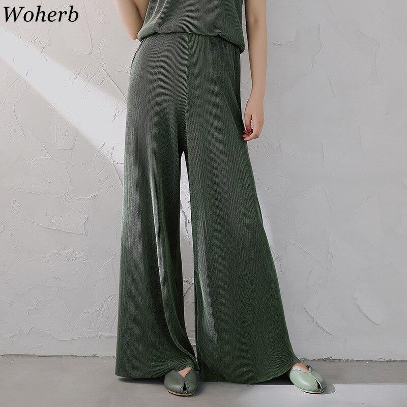 Woherb Elegant   Wide     Leg     Pants   Women Summer Casual Thin Chiffon Trousers 2019 Korean Loose Stretch High Waist   Pant   Pantalon Femme