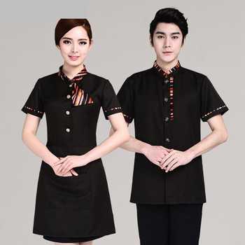 Hotel Uniform Women\'s Short Sleeved Restaurant Hotel Attendant Summer Dress Hot Pot Restaurant Front Office Suite