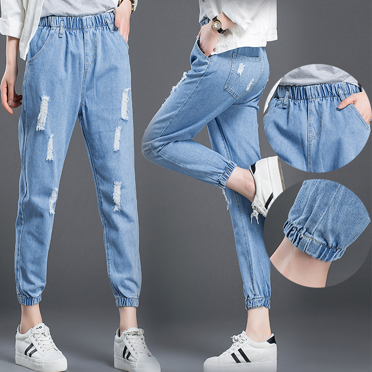 2018 summer and fall paragraph nine feet harem pants female fashion Korean loose old washed   jeans   women