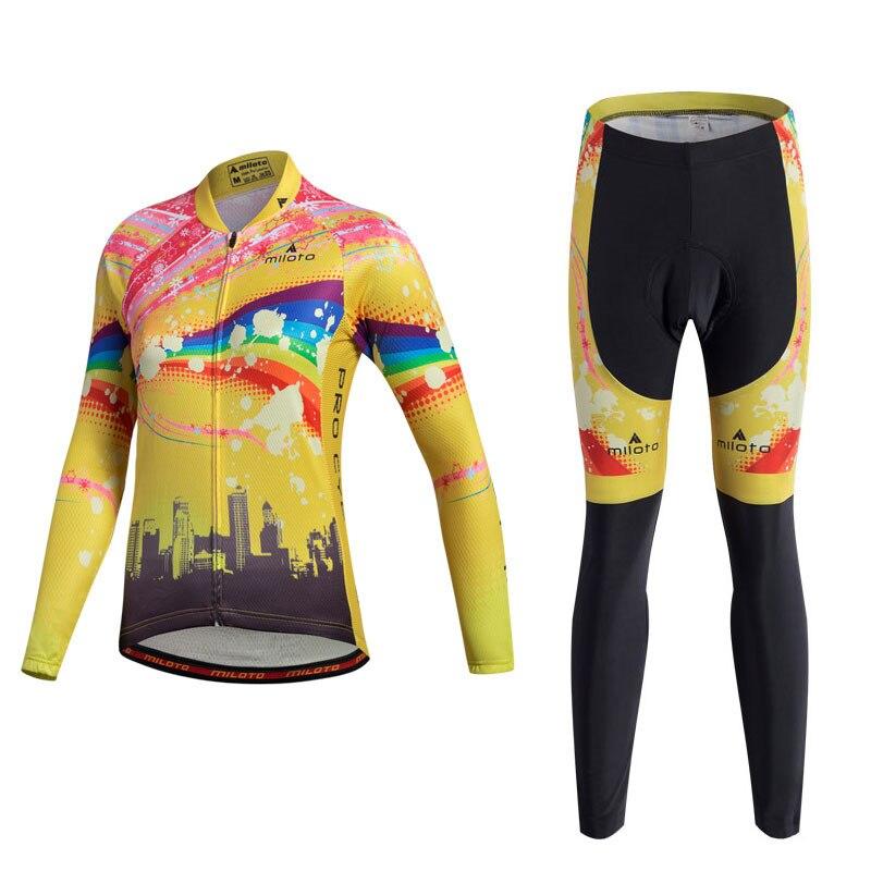 Miloto 2017 Long Sleeve Cycling Jersey Sets Women Autumn Pro Racing Sport Cycling Clothing mtb Road