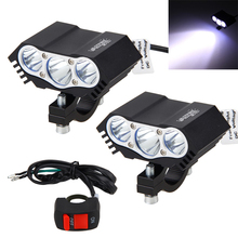 2PCS 30W 4000LM 3x XM-L T6 LED Motorcycle LED Headlight Spot Light Offroad Driving Fog Light Lamp with Switch 2pcs pair sunkia with switch waterproof cree chip u7 led motorcycle headlight fog light spot light lamp 4 colors angle eye light