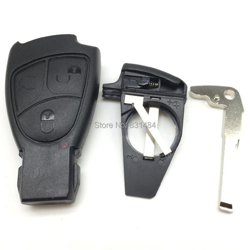 Prix pour 3 boutons de remplacement smart key case shell avec batterie clip et avec uncut lame pour mercedes benz voiture (avec logo)