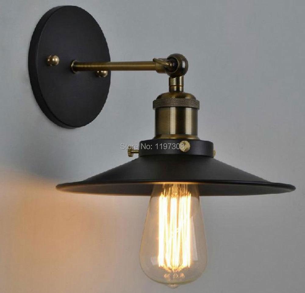 Creative industrial lamps - Nordic American Retro Creative Industrial Warehouse Creative Lantern Lamp Single Head Black Umbrella Wall Lamp D21cm