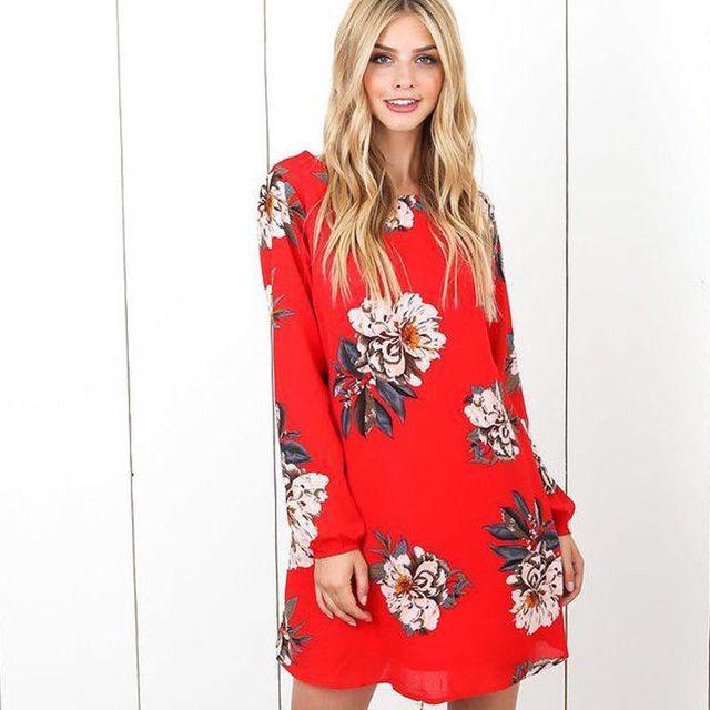 Aliexpress Com Vintage Frauen Chiffon Tunika Kleider Print Kleid