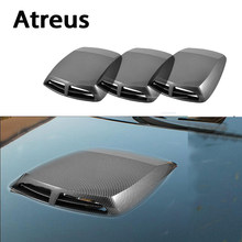 Atreus Koolstofvezel Auto Decoratieve Air Flow Vent Cover Hood Stickers Voor Nissan qashqai Citroen c4 c5 c3 Chevrolet cruze aveo(China)