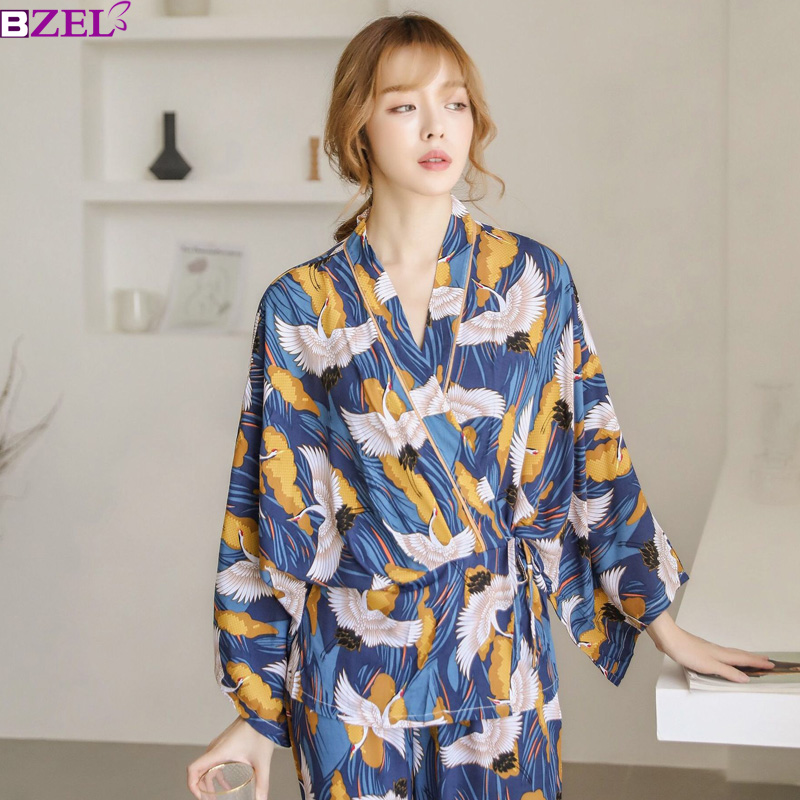 Pyjamas Sets Woman Full Elegant Home Wear Sleep Clothing Female Pajamas Suit Autumn Crane Animal Print Japanese Kimono Straps