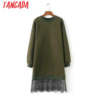 Tangada Autumn Long Hoodie Dress Oversized Lace Patchwork Casual Vintage Ladies Women Warm Dress Female Japan Style Vestidos XZH