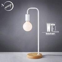 بسيطة الحديد خشبية الحديثة الجدول مصباح الصناعية الأسود لمبة مكتب LED E27 مع 3 ألوان للدراسة غرفة نوم صالون مكتبة السرير-في مصابيح طاولة LED من مصابيح وإضاءات على