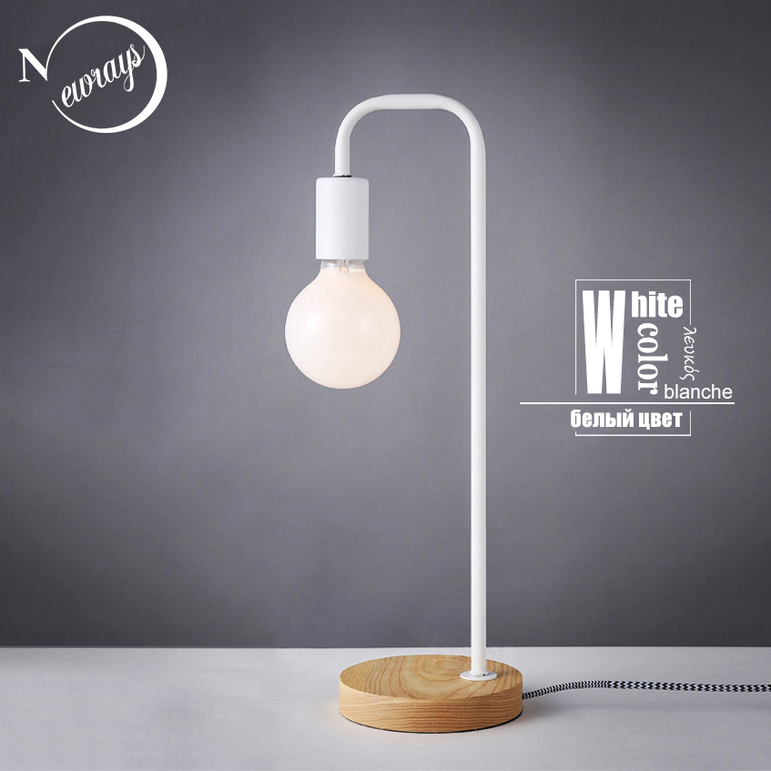 Simple iron wooden modern table lamp industrial black desk lamp LED ...