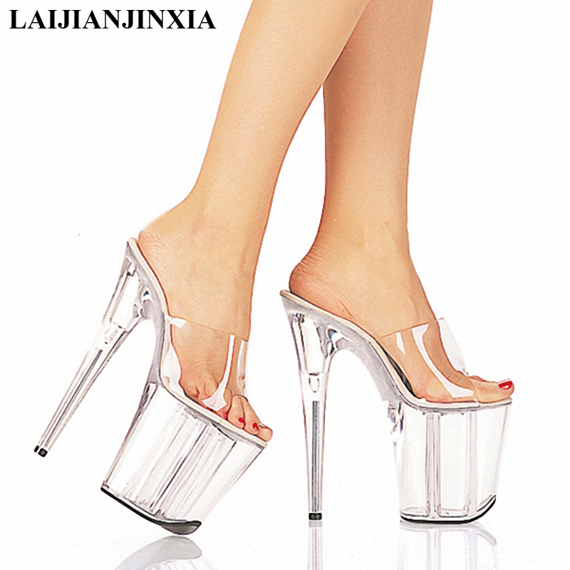 LAIJIANJINXIA New Summer 2018 Crystal Slipper High Heels 20cm Transparent Waterproof Cool Slippers Large size 34-46 Women's Shoe