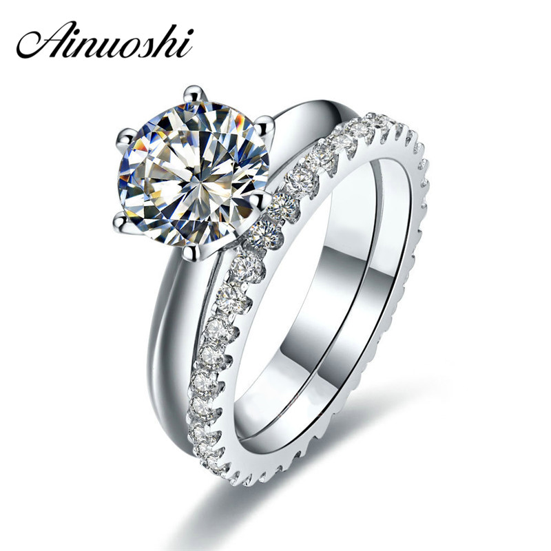 AINUOSHI Luxury 1 1 5 2 Carat Round Cut Wedding Ring Set 925 Sterling Silver 2PC