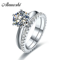 AINUOSHI Luxury 1/1.5/2 Carat Round Cut Wedding Ring Set 925 Sterling Silver 2PC Bridal Women Engagement Ring Full Eternity Band