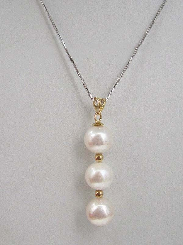 jewerly Selling>AAA round 8 7.5 mm south sea natural White pearl pendant necklace>free shipping