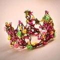 Regal real chique special bagas da semente videira verde rosa tiaras e Coroas Para Crianças Little Lady Bonito Do Cabelo Da Menina de Flor acessórios