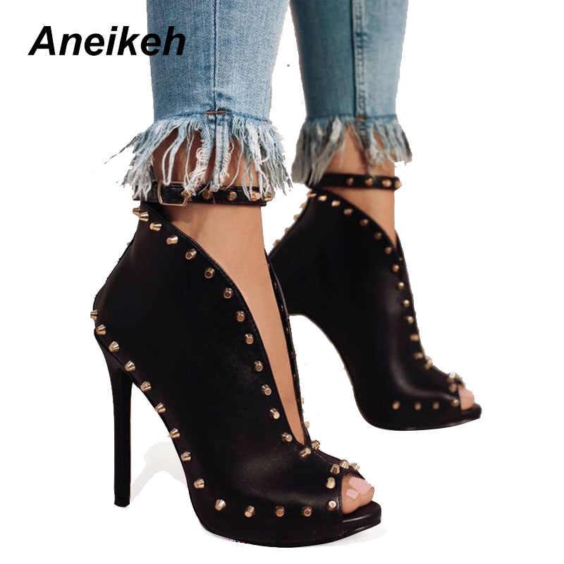 Aneikeh New Design Women Chelsea Boots Black Open Toe High