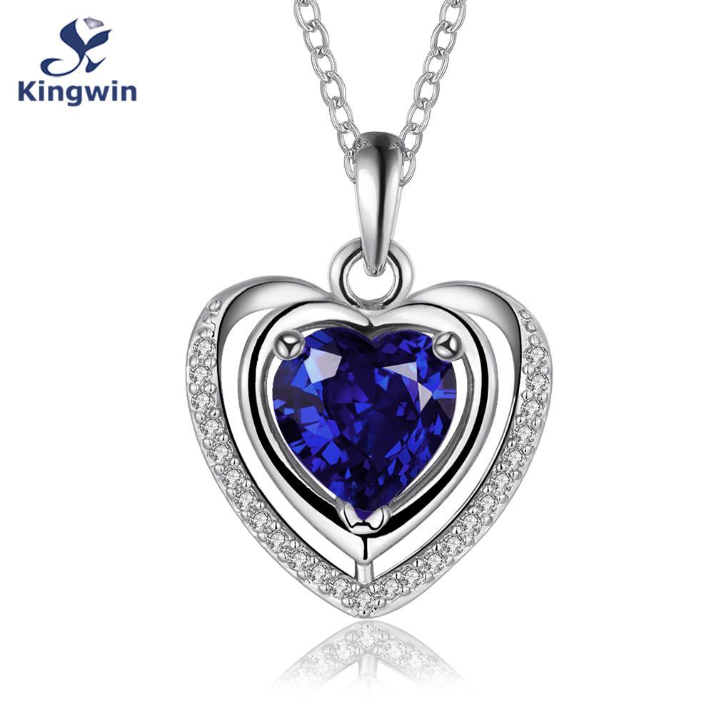 White Pure Gold Color heart pendant necklace Blue semi ...