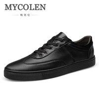 MYCOLEN Новинка весны/осень черный, белый цвет Мужская обувь Кожа универсальные Для мужчин плоской подошве модные минималистский дизайн Элега